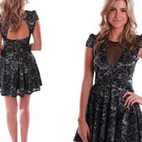 Black Lace Short Sleeve Skater Dress with Mesh Insert