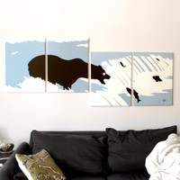 Bear Paintings in Blue, White, & Black 18 x 24 (Set of 4)