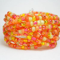 Braided Bracelet Sunshine Yellow and Neon Orange Beaded Cuff Bracelet