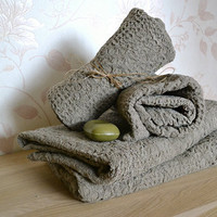 ORGANIC Linen Towels  Set of 3 Massage Undyed Rustic Natural Pre-washed Wafer Towels