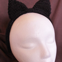 Cat Ears Headband Adult Black Ready to by SunshineRoseDesign