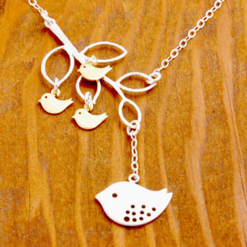 Mother Necklace - family necklace, 3 kids, mom necklace, grandma necklace, nana necklace, baby necklace, baby bird necklace