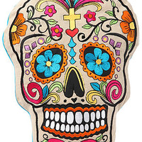 Karma Living Home Goods Dia Des Los Muertos Pillow in White