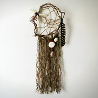 Large Dreamcatcher // Song of the Sea. Seashells Feathers and Fringe. One of a Kind Art.