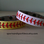 Leather Baseball or Softball Bracelet with Red Stitching and Snap Closure Sports Jewelry
