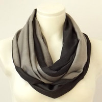 Infinity Scarf  Charcoal & Pearl Grey - Winter Spring Fashion - Loop Circle Scarf- Reversible