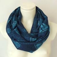Sailboats of Spring Turquoise & Navy Color - Spring Fashion - Loop Circle Scarf