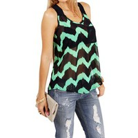 Navy/Mint Chevron Sleeveless Top