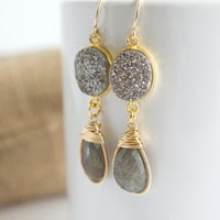 Labradorite Dangle Earrings, Druzy Earrings, Bezel Set Earrings, Gemstone Earrings