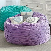 Lilac Ruched Velvet Beanbag