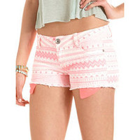Neon Tribal Frayed Denim Short: Charlotte Russe