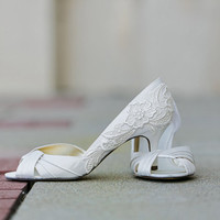 Ivory Wedding Shoes - Ivory Bridal Shoes, Ivory Heels with Ivory Lace. US Size 9