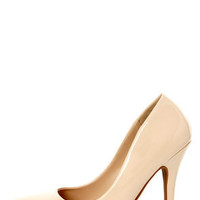 Elly 1 Blush Beige Patent Pointed Pumps