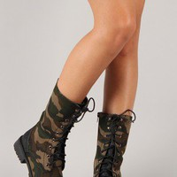 Lug-11 Camouflage Military Lace Up Mid-Calf Boot