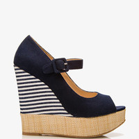 Raffia-Trimmed Striped Wedges