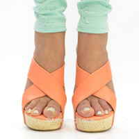 Phoebe Peach &amp; Cream Wedge Platform Shoes