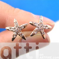 Small Starfish Star Shaped Stud Earrings in Rose Gold with Rhinestones