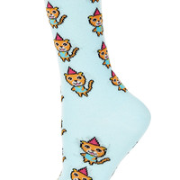 Aqua Party Hat Cat Ankle Socks - Tights & Socks - Bags & Accessories - Topshop USA