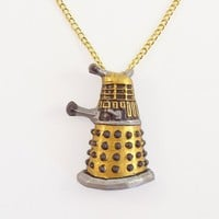 Gold Robot Pendant and Necklace | TheClayPony - Jewelry on ArtFire