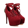 European Round Closed Toe Super High Stiletto Red Suede Ankle Wrap Pumps_Pumps_Womens Shoes_Cheap Clothes,Cheap Shoes Online,Wholesale Shoes,Clothing On lovelywholesale.com - LovelyWholesale.com