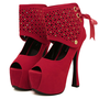 Personality Round Closed Toe Rivet Embellished Stiletto High Heels Red Suede Pumps_Pumps_Womens Shoes_Cheap Clothes,Cheap Shoes Online,Wholesale Shoes,Clothing On lovelywholesale.com - LovelyWholesale.com
