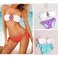 Women Sexy Swimsuit Swimwear Padded Jeweled Crystal Bandeau Top Bottom Bikini