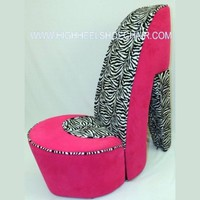 Zebra and Hot Pink High Heel Shoe Chair