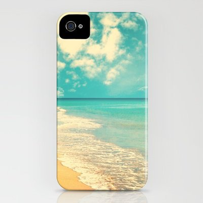 Waves of the sea (retro beach and blue sky) iPhone Case by Andreka | Society6