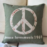 Anti-war Sign Cotton and Linen Pillow