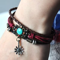 Handmade Leather Bracelets- Sun Flower
