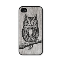 Owl iPhone 5 Case - Plastic iPhone 5 Cover - Wood iPhone 5 Case - Brown Grey Black Woodland iPhone 5 Skin