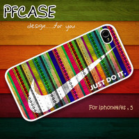 Nike JUST DO IT with wonder aztec style : Handmade Case for Iphone 4/4s , Iphone 5 Case Iphone