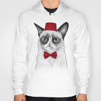 Grumpy Cat Dr Who Tard Portrait Hoody by Olechka