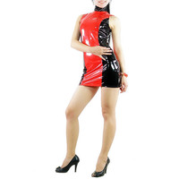 Black And Red PVC Dress Zentai Catsuit - $46.99