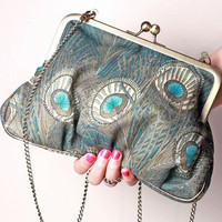 Vintage turquoise peacock Ambrosia handbag with by BagatellesAndCo