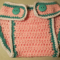 Baby-Diaper Cover -Baby Girl-Pink White and Turquoise-Baby Shower Gift--Made in the USA--
