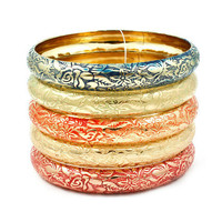 Pree Brulee - Moroccan Bangle Set - Orange Sherbet