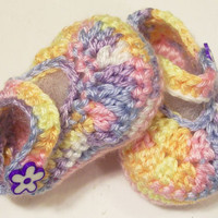 Baby Girl Shoes -shaded Pastel-Crochet ---3-6M-Made in the USA--Baby Shower Gift-