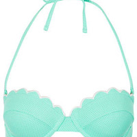 Mint Scallop Bikini Top