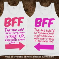 More funny matching pair of BFF apparel in the Best Friends Collection! Available on tees, hoodies and sweaters. #British #slang #humour