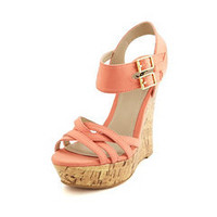 Strappy Canvas Cork Wedge Sandal: Charlotte Russe