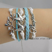 Unisex simple fashion silver Branches, Bird and letter of the alphabet bracelet--white,blue wax rope Leather braided leather bracelet