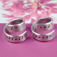 to infinity and beyond - Spiral Rings, Hand stamped, Handwritten Font, Shiny Aluminum, Forever Love, Friendship, V.3