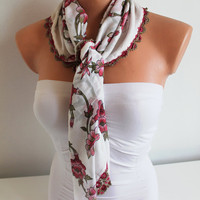 Cotton scarf Summer scarf Red and White Scarf, Shawl Ethnic Floral Patterned Cotton Fabric with hand crocheted lace