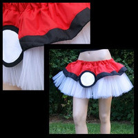 Pokemon PokeBall Red White Costume TuTu All Sizes MTCoffinz