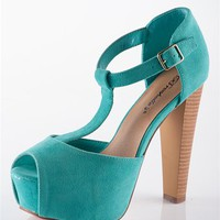 Peep Toe T-Strap Sandal Heel - Mint from Sandals at Lucky 21 Lucky 21