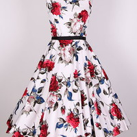 50s &quot;Audrey Hepburn&quot;  Rose Floral  Dress Size S-4X  Pinup  Swing  