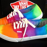 VANS SALE RAINBOW Tie Dye Studded Rainbow Tie Dye Vans
