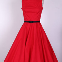 50s Audrey Hepburn Red Pinup  Dress Size XS/S/M/L/XL/1X/2X/3X/4X  Pinup  Swing