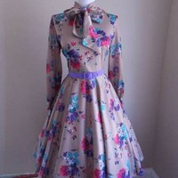 VTG 60s 70s Atomic Floral FULL SKIRT LUCY Mad Men PINUP Tie Neck SHIRT Day DRESS